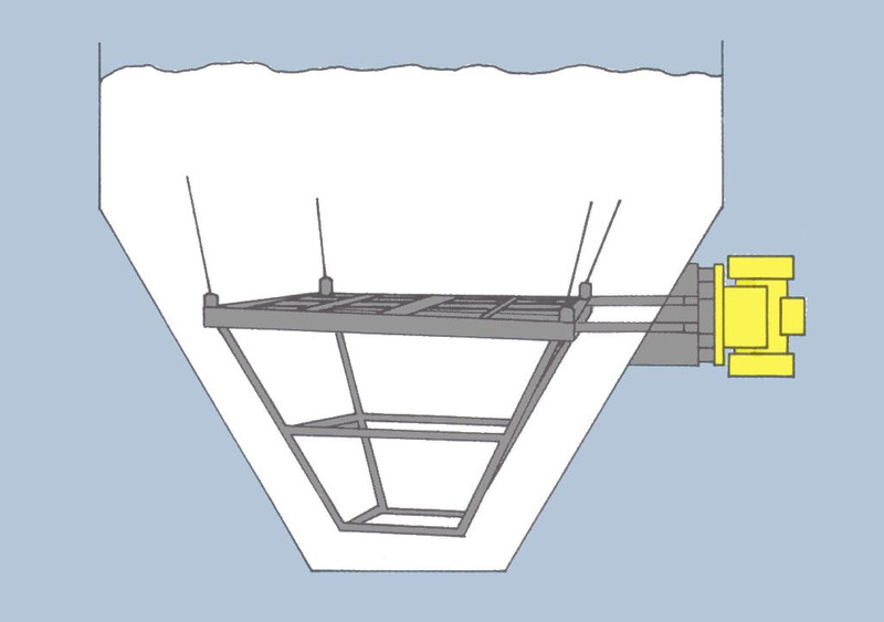 External vibrator - a vibration basket at a silo
